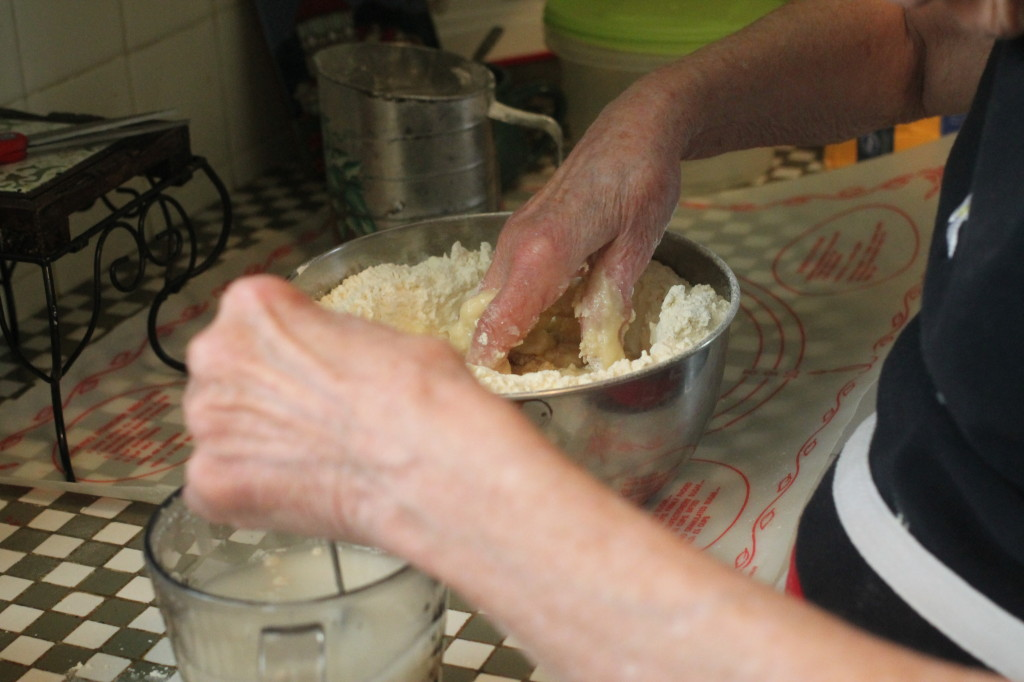 Adding water and yeast
